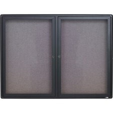 QRT 2364L Quartet Graphite Radius Frame 2-Door Fabric Board QRT2364L