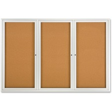"""Quartet Enclosed Bulletin Board for Indoor Use - 48"""" (1219.20 mm) Height x 72"""" (1828.80 mm) Width - Brown Natural Cork Surface - Hinged, Self-healing, Shatter Proof, Rounded Corner, Durable - Silver Aluminum Frame"""