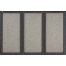QRT 2367L Quartet Graphite Radius Frame 3-Door Fabric Board QRT2367L