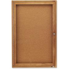 QRT 363 Quartet Oak Frame Enclosed Cork Bulletin Board QRT363