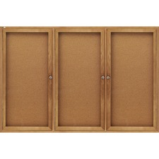 QRT 367 Quartet Oak Frame 3Door Enclosed Cork Bulletin Brd QRT367