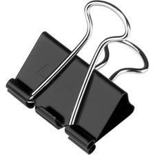 "Acco Binder Clips - Medium - 0.6"" Size Capacity - Reusable - 1 / Dozen - Black - Metal, Plastic, Tempered Steel"