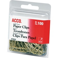 ACC72533 - ACCO® Gold Tone Clips, Smooth Finish, #2 Size, 100/Box
