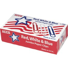 ACC72542 - ACCO® Nylon Coated Paper Clips, Smooth Finish, Jumbo Size, Red, White & Blue, 150/Box
