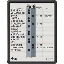 "Quartet DuraMax 18-line Magnetic InOut Board - 14"" (355.60 mm) Height x 11"" (279.40 mm) Width - Gray Porcelain Surface - Black Frame - 1 Each"