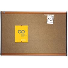 Quartet® Prestige® Colored Cork Bulletin Board, 3' x 2', Light Cherry Finish Frame