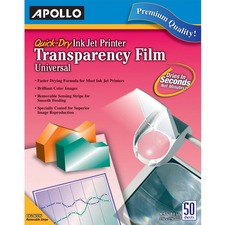 APOCG7033S - Apollo® Quick Dry Universal Ink Jet Printer Film, Color, 50 Sheets