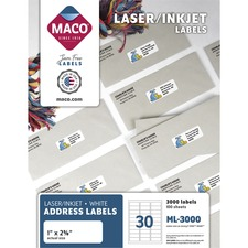 MAC ML3000 Maco Laser/Ink Jet Mailing Labels MACML3000
