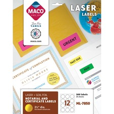 MAC ML7850 Maco Round Gold Foil Laser Labels MACML7850
