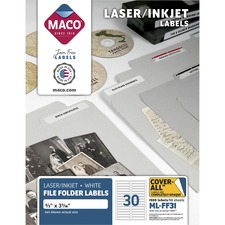 MAC MLFF31 Maco Assorted Laser/Inkjet File Folder Labels MACMLFF31