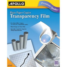 APOPP100C - Apollo® Plain Paper Copier Film Without Stripe, Black-&-White, 100 Sheets