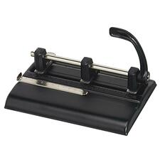 "Master Heavy-Duty Adj Center 3-Hole Punch - 3 Punch Head(s) - 40 Sheet Capacity - 9/32"" Punch Size - Round Shape - Black"