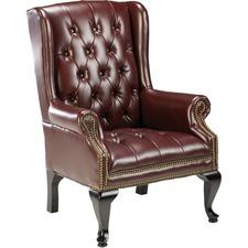 LLR60605 - Lorell 777 QA Queen Anne Wing-Back Reception Chair
