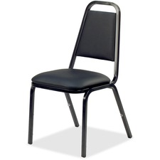 "Lorell Upholstered Stacking Chair - Vinyl Black Seat - Steel Black Frame - Charcoal Black - Vinyl, Steel - 18"" Width x 22"" Depth x 34.5"" Height"