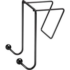 "Fellowes Wire Partition Additionsâ""¢ Double Coat Hook - 2 Hooks - for Coat, Umbrella, Sweater, Wall - Plastic - Black - 1 Each"