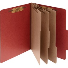 ACC15038 - ACCO® Pressboard 8-Part Classification Folders, Letter, Red, Box of 10
