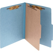ACC16024 - ACCO® Pressboard 4-Part Classification Folders, Legal, Sky Blue, Box of 10