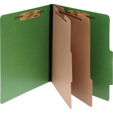 ACC16665 - ACCO® ColorLife® PRESSTEX® 6-Part Classification Folders, Legal, Dark Green, Box of 10