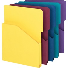 "Smead Expanding Slash Jackets - Letter - 8 1/2"" x 11"" Sheet Size - 1"" Expansion - 2/5 Tab Cut - 11 pt. Folder Thickness - Assorted - Recycled - 5 / Pack"