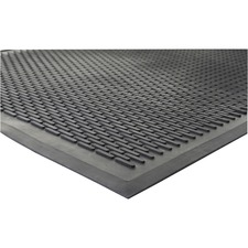 "Genuine Joe Clean Step Scraper Floor Mats - Outside Entrance, Outdoor - 72"" (1828.80 mm) Length x 48"" (1219.20 mm) Width - Rubber - Black"