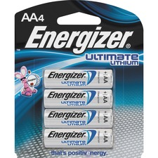 Energizer Ultimate Lithium AA Batteries - For Multipurpose - AA - 1.5 V DC - Lithium (Li) - 4 / Pack