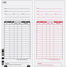 Lathem E7 - Timecards (Box of 1000) - White - Black, Red Print Color - 1000 / Box