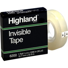 MMM 6200121296 3M Highland Matte-finish Invisible Tape MMM6200121296