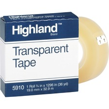 "Highland Transparent Light-duty Tape - 0.75"" Width x 36 yd Length - 1"" Core - Acrylic - Polypropylene Backing - Glossy - 1 Roll - Clear"