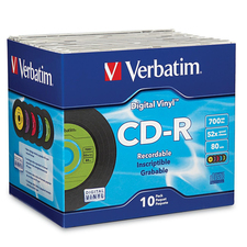 Verbatim CD-R 80min 52X with Digital Vinyl Surface - 10pk Slim Case