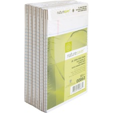 "Nature Saver 100% Recycled White Jr. Rule Legal Pads - Jr.Legal - 50 Sheets - 0.28"" Ruled - 15 lb Basis Weight - 5"" x 8"" - White Paper - Perforated, Back Board - Recycled"