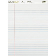 "Nature Saver Recycled Legal Ruled Pads - 50 Sheets - 0.34"" Ruled - 15 lb Basis Weight - 8 1/2"" x 11 3/4"" - White Paper - Perforated, Stiff-back, Easy Tear, Back Board - Recycled - 12 / Each"