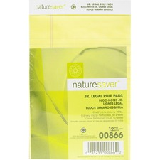 NAT 00866 Nature Saver 100% Recy. Canary Jr. Rule Legal Pads NAT00866