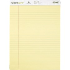"Nature Saver 100% Recycled Canary Legal Ruled Pads - 50 Sheets - 0.34"" Ruled - 15 lb Basis Weight - 8 1/2"" x 11 3/4"" - Canary Paper - Perforated, Stiff-back, Back Board, Easy Tear - Recycled"
