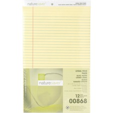 NAT 00868 Nature Saver 100% Recycled Canary Legal Ruled Pad NAT00868