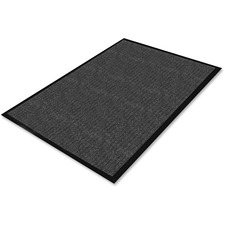 "Genuine Joe Golden Srs Dual-Rib Indoor Wiper Mats - Warehouse, Indoor - 72"" (1828.80 mm) Length x 48"" (1219.20 mm) Width - Vinyl, Polypropylene - Charcoal"