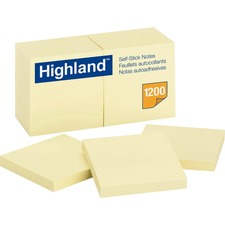 "Highland Self-Sticking Note Pads - 1200 - 3"" x 3"" - Square - 100 Sheets per Pad - Unruled - Yellow - Paper - Self-adhesive - 12 Pad"