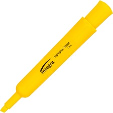 Integra Desk Highlighter - Chisel Marker Point Style - Yellow Ink - Yellow Barrel