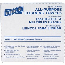 "Genuine Joe All-Purpose Cleaning Towels - 16.5"" x 9.5"" - White - Soft, Reusable, Absorbent, Non-abrasive - 100 Quantity Per Box - 100 / Box"