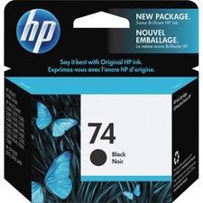 HP 74 Original Ink Cartridge - Single Pack - Inkjet - Standard Yield - 200 Pages - Black - 1 Each