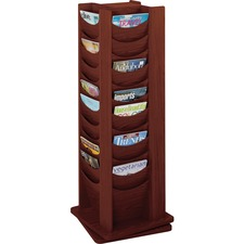 SAF 4335MH Safco 48-Pocket Solid Wood Rotating Display Rack SAF4335MH