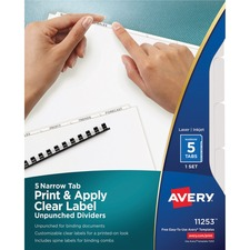 AVE11253 - Avery&reg Index Maker Narrow Tab Print & Apply Clear Label Dividers - Unpunched