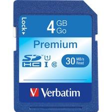 Verbatim 4GB Premium SDHC Memory Card, UHS-I U1 Class 10 - 30 MB/s Read - Lifetime Warranty