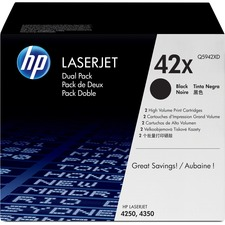 HP 42XD (Q5942XD) Original Toner Cartridge - Dual Pack - Laser - High Yield - 20000 Pages - Black