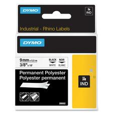 """Dymo Thermal Label - Permanent Adhesive - 3/8"""" Width x 18 ft Length - Rectangle - Thermal Transfer - White - Polyester - 1 Each"""