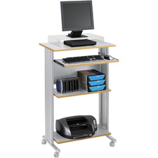 """Safco Muv Stand-up Workstation - Rectangle Top - 29.5"""" Table Top Width x 19.8"""" Table Top Depth x 0.8"""" Table Top Thickness - 45"""" Height x 29.5"""" Width x 22"""" Depth - Assembly Required - Gray, Laminated, Melamine"""