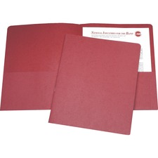 "SKILCRAFT Double Pocket Portfolio - Letter - 8 1/2"" x 11"" Sheet Size - 43/64"" Expansion - 2 Pocket(s) - LeatherGrain - Red - Recycled - 25 / Box"