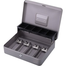 "Sparco Controller Cash Box - 5 Coin - Gray - 3.40"" (86.36 mm) Height x 11.40"" (289.56 mm) Width x 7.50"" (190.50 mm) Depth"