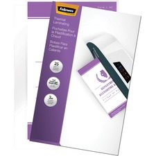 """Fellowes Glossy Pouches - Legal, 3 mil, 25 pack - Sheet Size Supported: Legal - Laminating Pouch/Sheet Size: 9"""" Width x 3 mil Thickness - Type G - Glossy - for Document - Durable - Clear - 25 Pack"""