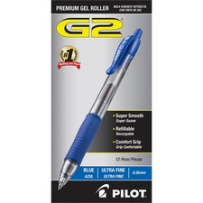 Pilot G2 Ultra Fine Retractable Pens - Ultra Fine Pen Point - 0.38 mm Pen Point Size - Refillable - Retractable - Blue Gel-based Ink - Clear Barrel - 12 / Dozen