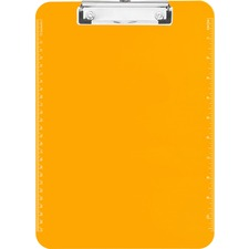 "Sparco Transparent Plastic Clipboard with Flat Clip - 9"" x 12"" - Low-profile - Plastic - Neon Orange - 1 Each"